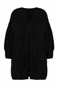 Womens Balloon Sleeve Knitted Cardigan - black - L, Black