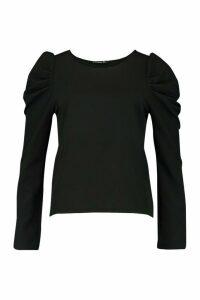 Womens Woven Puff Sleeve Long Sleeved Shell Top - black - 10, Black