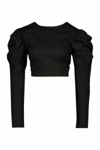 Womens Woven Puff Sleeve Tie Open Back Blouse - black - 14, Black