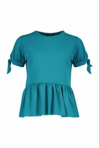 Womens Crepe Tie Sleeve Smock Peplum Top - green - 14, Green