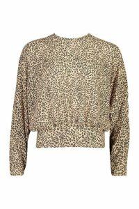 Womens Woven Leopard Shirred Waist Woven Crop Top - beige - 16, Beige