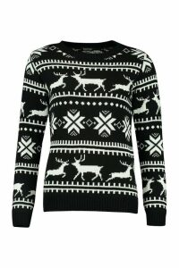 Womens Christmas Fairisle Jumper - black - S, Black