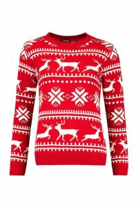 Womens Christmas Fairisle Jumper - red - S, Red