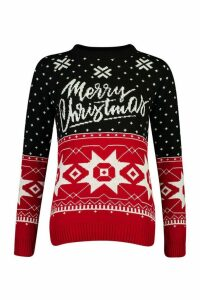 Womens Christmas Fairisle Jumper - black - M, Black