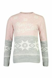 Womens Christmas Fairisle Jumper - grey - L, Grey