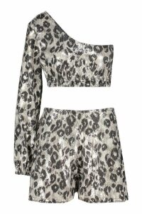 Womens One Shoulder Glitter Leopard Top And Short Co-Ord - Black - 14, Black