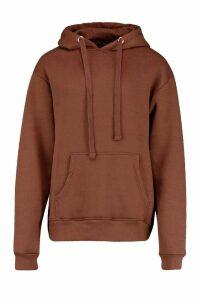 Womens Oversized Longline Hoodie - brown - M/L, Brown