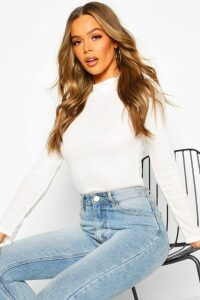 Womens Rib Knit roll/polo neck Long Sleeve Top - white - 14, White