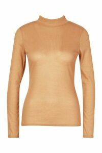 Womens Rib Knit roll/polo neck Long Sleeve Top - beige - 14, Beige