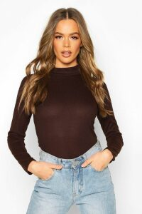 Womens Rib Knit roll/polo neck Long Sleeve Top - brown - 14, Brown