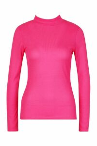Womens Rib Knit Roll/Polo Neck Long Sleeve Top - Pink - 8, Pink