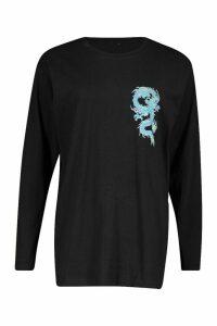 Womens Oriental Dragon Long Sleeve T-Shirt - black - M, Black