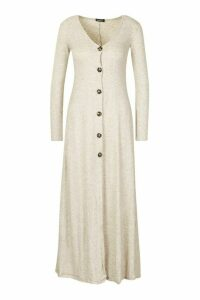 Womens Maxi Fine Rib Button Detail Cardigan - Beige - 8, Beige