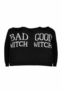 Womens Good Witch Bad Witch Twin Jumper - black - One Size, Black