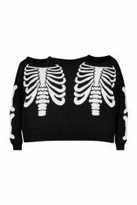 Womens Skeleton Halloween Twin Jumper - Black - One Size, Black