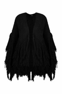 Womens Tassel knit Oversized Cardigan - black - S/M, Black