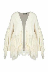 Womens Tassel knit Oversized Cardigan - white - M/L, White