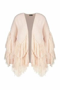 Womens Tassel knit Oversized Cardigan - Beige - M/L, Beige