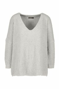 Womens Fluffy V Neck Oversized Jumper - Grey - M, Grey