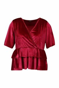 Womens Plus Wrap Layered Peplum Velvet Top - 26, Red