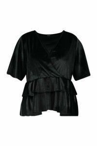 Womens Plus Wrap Layered Peplum Velvet Top - black - 28, Black