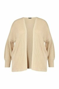 Womens Plus Bell Sleeve Knitted Cardigan - Beige - 20-22, Beige