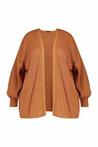 Womens Plus Bell Sleeve Knitted Cardigan - brown - 24-26, Brown