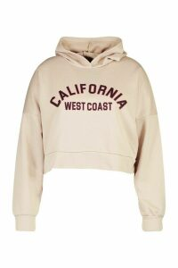 Womens Plus California Slogan Crop Hoodie Sweat - Beige - 18, Beige