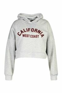 Womens Plus California Slogan Crop Hoodie Sweat - grey - 16, Grey