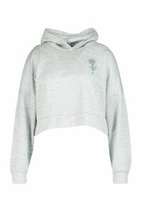 Womens Plus Rose Pocket Print Crop Hoodie - grey - 20, Grey
