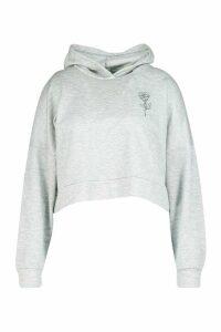 Womens Plus Rose Pocket Print Crop Hoodie - grey - 18, Grey