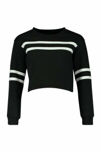 Womens Petite Double Sport Stripe Sweat Top - black - 12, Black
