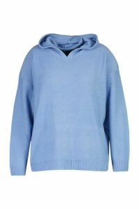 Womens Plus Knitted Jumper With Hood - blue - 20, Blue