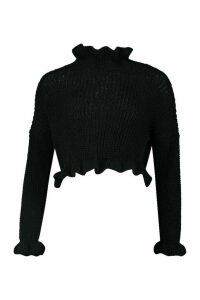 Womens Ruffle Cropped Knitted Jumper - black - M/L, Black