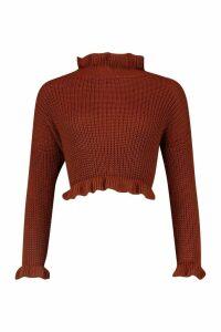 Womens Ruffle Cropped Knitted Jumper - orange - M/L, Orange