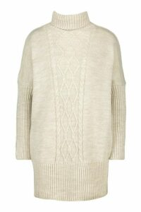 Womens Cable Knit Roll Neck Jumper - beige - M/L, Beige