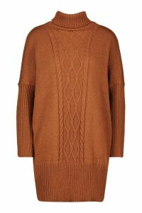 Womens Cable Knit Roll Neck Jumper - brown - M/L, Brown