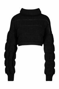 Womens Bubble Knit Cropped Jumper - black - M/L, Black