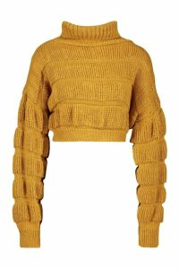 Womens Bubble Knit Cropped Jumper - yellow - M/L, Yellow