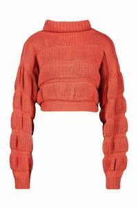 Womens Bubble Knit Cropped Jumper - pink - M/L, Pink
