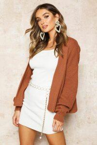 Womens Oversized Rib Cropped Cardigan - beige - S/M, Beige