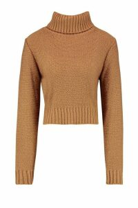 Womens Tall Soft Knit Roll Neck Crop Jumper - beige - L, Beige