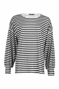 Womens Stripe Balloon Sleeve Top - black - 12, Black