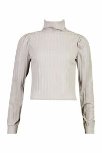 Womens Jumbo Rib Roll Neck Long Sleeve Top - grey - 12, Grey