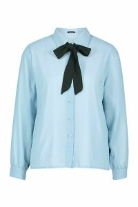 Womens Pussybow Tie Shirt - blue - 12, Blue