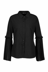 Womens Pleat Sleeve Detail Shirt - Black - 12, Black