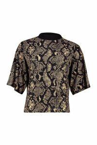 Womens Snake Print Ringer T-Shirt - black - 6, Black