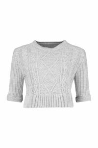 Womens Cable Knit 2 In 1 Top - grey - M/L, Grey