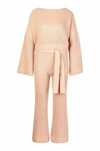 Womens Knitted Trouser & Jumper Co-ord - pink - M, Pink