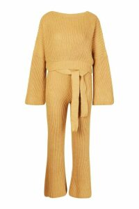 Womens Knitted Trouser & Jumper Co-ord - beige - M, Beige